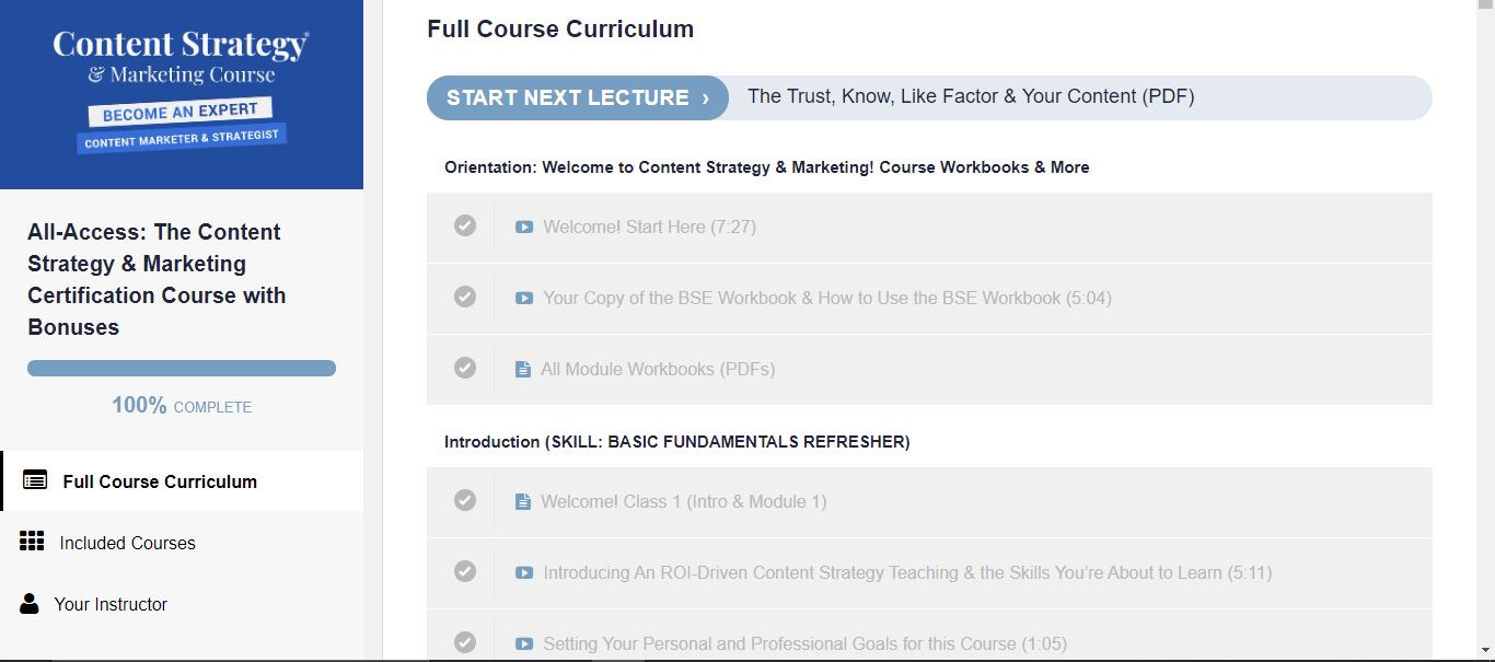 Content Strategy & Marketing course curriculum