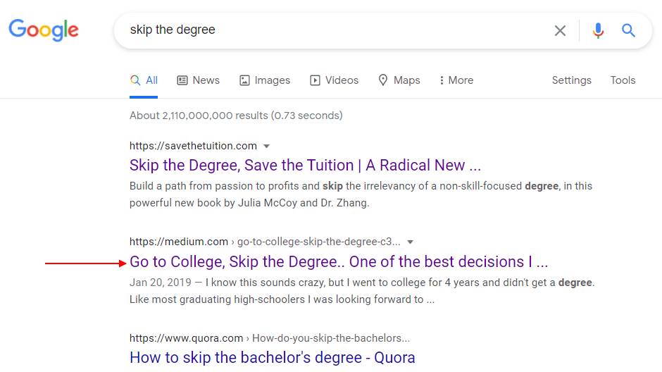 google results skip the degree